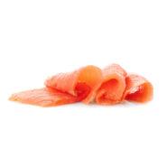 Fresh Sliced Salmon Fillet On White Background