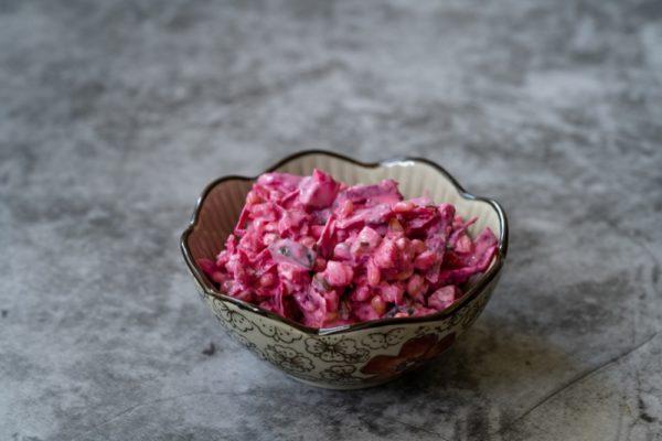 Beet Raita Salad With Yogurt and Beetroot. / Yoghurt Appetizer.